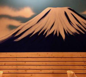 壁には富士山の絵