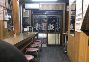 カウンターに丸椅子、昭和の風情