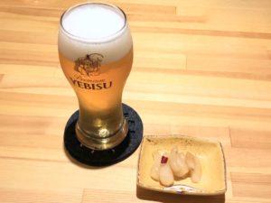 生ビールと「福岡のらっきょ」