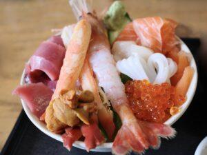「満足丼(上)」は全部入り+マグロ・サーモンの増量